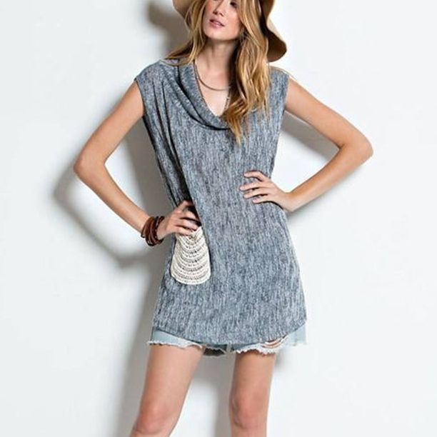 Janie Sleeveless Cowl Neck - Sleevelesscowl neck side slit tunic, 2-tonelightweight knit sweater with crochet pocket. Bohemian girl this is the Tunic for you! This Tunic is one of Pantone's Colors for Spring '16 and very flattering tone that goes with anything! Free spirits all agree this is the new fav! - $32.00