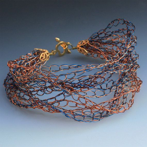 Crocheted Wire Bracelet In Blue Brown And Copper by Aliona K