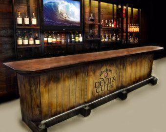 Items Similar To Home Bar Custom Hand Built Rustic Whiskey, Pub, Man Cave,  Barn Jim Beam Devilu0027s Cut Charred Barrel Theme U SHIP On Etsy