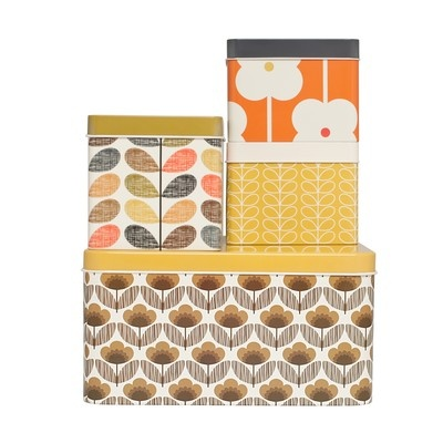 orla kiely - biscuit and cracker tins