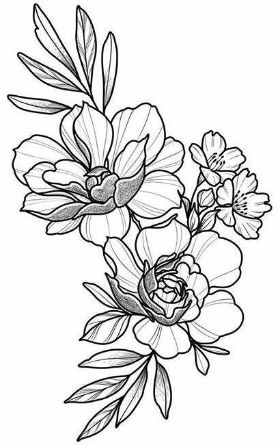 Floral Tattoo Design, Drawing, Beautifu, Simple, Flowers
