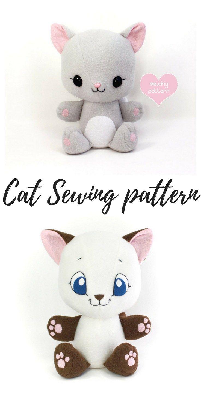 Pattern toy DIY. PDF Cat Sewing Pattern Stuffed Cute Cat Doll Digital Pattern For Sewing