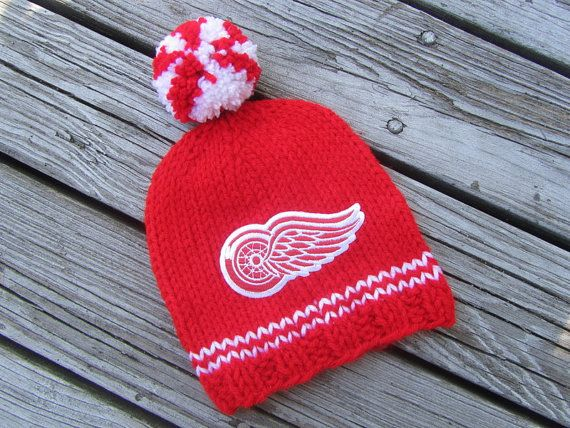 DETROIT RED WINGS Hand Knit Baby Hat  Detroit Red by UpNorthKnits