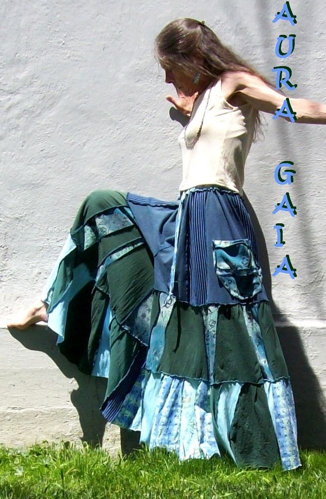Uber Wide Leg Tiered Skort Pants ~ OverDyed UpCycled Jersey