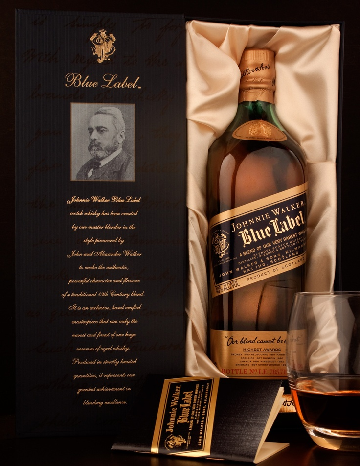 Johnny Walker Blue Label  I had the privilege of pouring this scotch whisky blend a couple of years ago. It was my first run at scotch and It did not disappoint. Seeing as how blue label runs at about as much as a high end monthly car note. It may be the first and last time I'll ever have it lol.