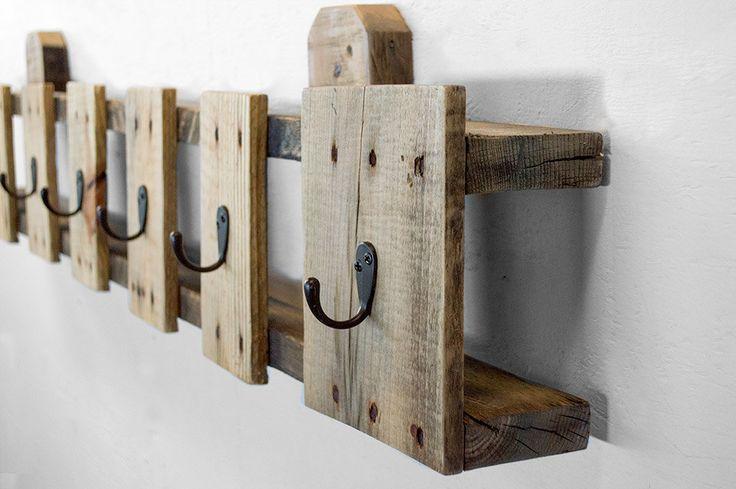 Coat Hooks Reclaimed Wood Coat Rack Entryway by byDadandDaughter