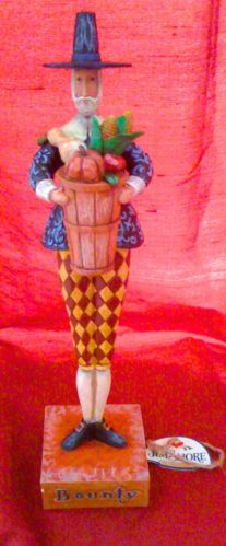 JIM SHORE PILGRIM MAN WITH BOUNTY BASKET THANKSGIVING CENTERPIECE! RETIRED!