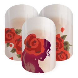 Curious Beauty | Jamberry The silhouette of the adventure-seeking, Disney Princess Belle takes center stage with a beautiful array of roses in 'Curious Beauty'.