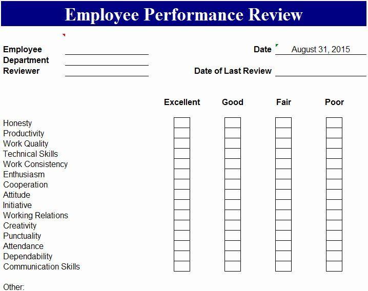 Employee Performance Evaluation Form Excel Beautiful Employee