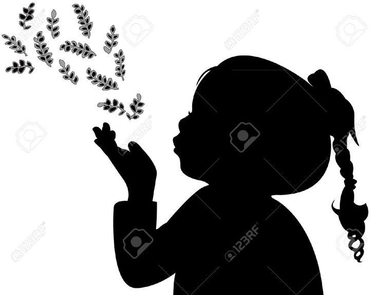 Un Niño Soplando Las Hojas, Silueta Ilustraciones Vectoriales, Clip Art Vectorizado Libre De Derechos. Pic 22015682.