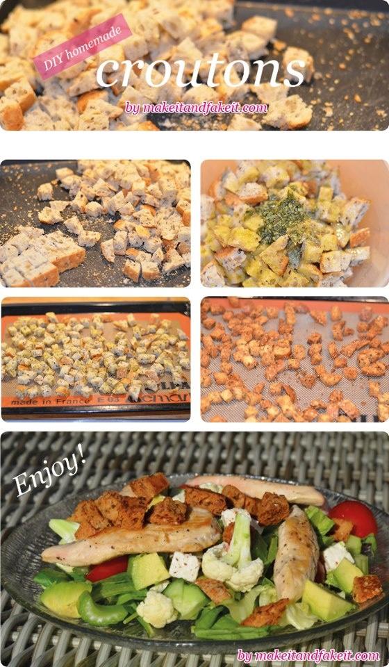 CROUTONS CASEIROS  ingredientes:  Pão Fatiado  Azeite aromatizado  Alho e especiarias    Corte o pão em quadrados pequenos, misture o azeite e especiarias juntos (que fez o alho, o manjericão, sal e pimenta), adicione o pão e azeite aromatizado.   Misture tudo em uma tigela grande e misture bem.   Espalhe o pão em uma assadeira grande e leve ao forno em fogo baixo no forno até que estejam crocantes.  Eles são os melhores para consumo imediatos, mas em um recipiente hermético 2-3 semanas.