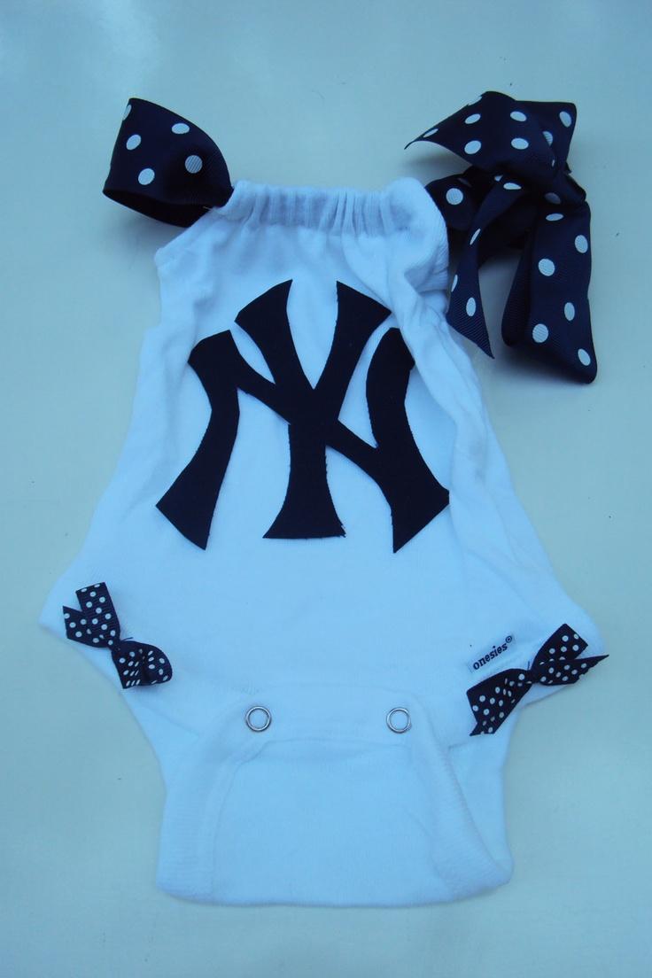 New York Yankees Baseball  Onesie. Girls, Baby Girls. For Your Little Yankees Fan. $20.00, via Etsy.