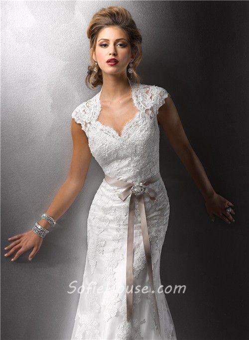 antique lace wedding dresses   ... Cap Sleeves Vintage Lace Wedding Dresses With Open Back Buttons Belt