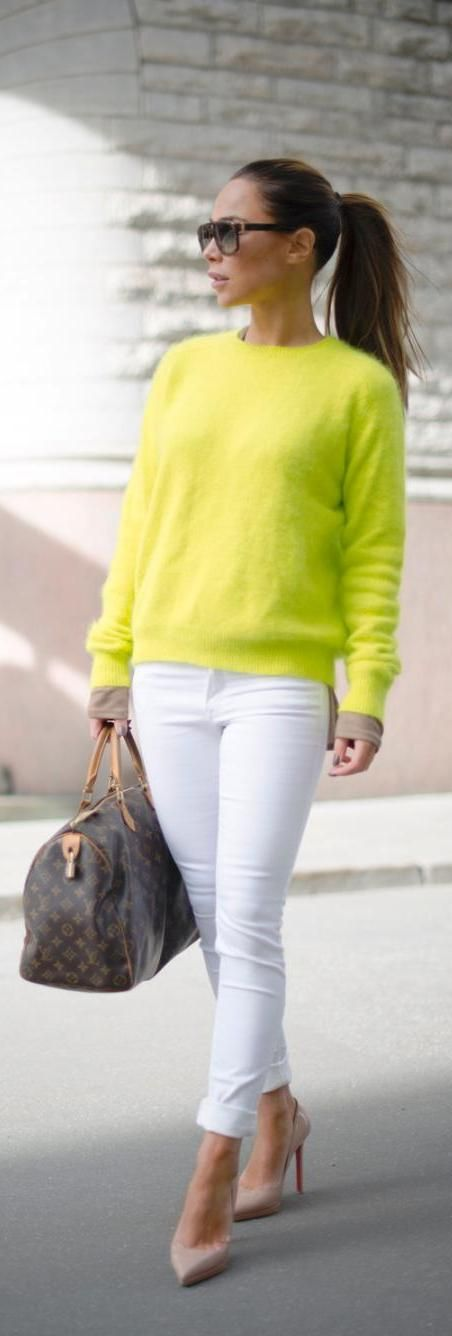 Spring or Fall - Street chic style - business casual style - work outfit - office wear - white skinnies + nude stilettos + gray handbag + neon yellow sweater