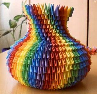3D Origami arco iris vaso kit 2.300 los papeles.