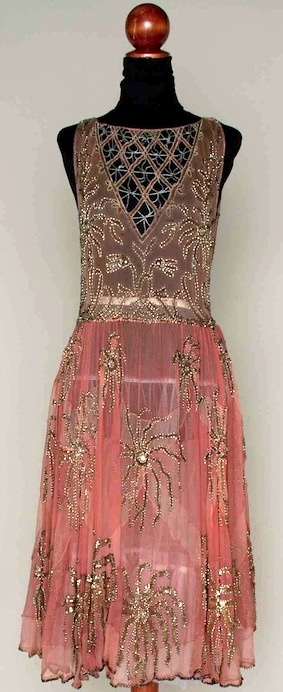Pink and silver beaded party dress ~ mid-1920s ~ Pale pink chiffon w/ darker pink large fan shape inserts, silver glass, sequin & rhinestone multi-petal blossoms, beaded lattice inserts