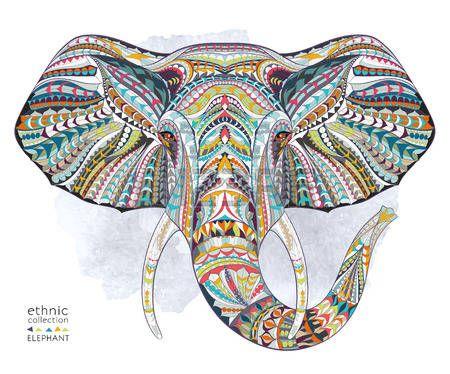 индийский: Этническая рисунком головы слона на фоне гранжа  Африканский  индийский дизайн  тотем  татуировка. Используйте для печати постеров, футболок. Иллюстрация