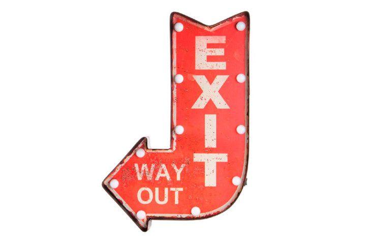 """Cartel Flecha Led """"Exit"""" – Zap+Zap – Decoración – Regalo – Antigüedades. Salamanca."""