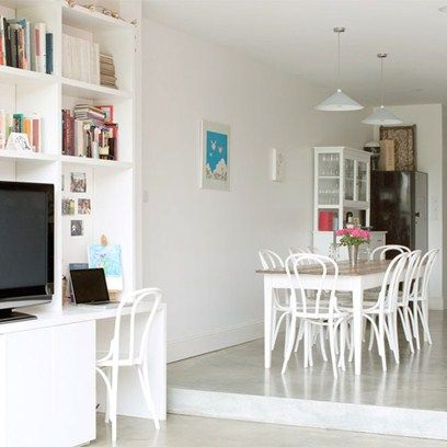 Be smart with your wall space to create office space as well as a spacious dining area