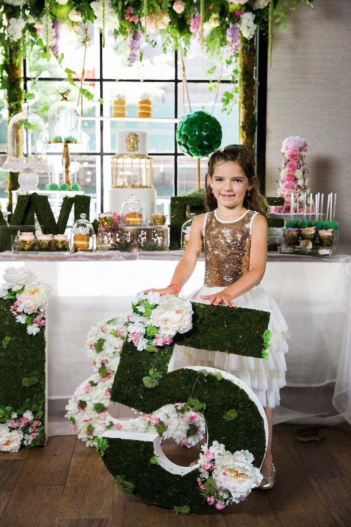 """Floral and mossy """"5"""" from a Secret Garden Birthday Party like no other! See this Kara's Party Ideas feature with 33 pics right here!"""