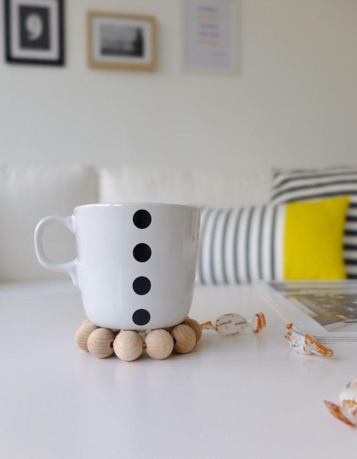wooden bead trivet