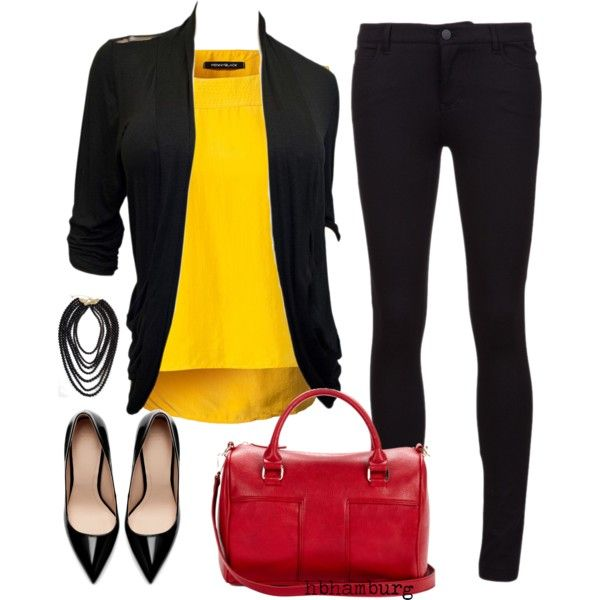 """""""No. 292 - Black & red & yellow"""" by hbhamburg on Polyvore"""