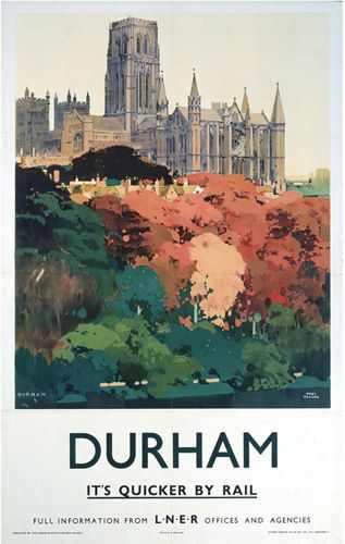 Durham - Trees and Cathedral Art Print by National Railway Museum Easyart.com