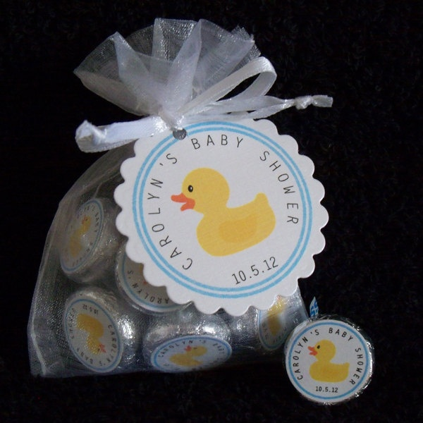 Personalized Hershey Kiss Baby Shower Favor Kit, ducky with blue border, set of 10. $12.50, via Etsy.