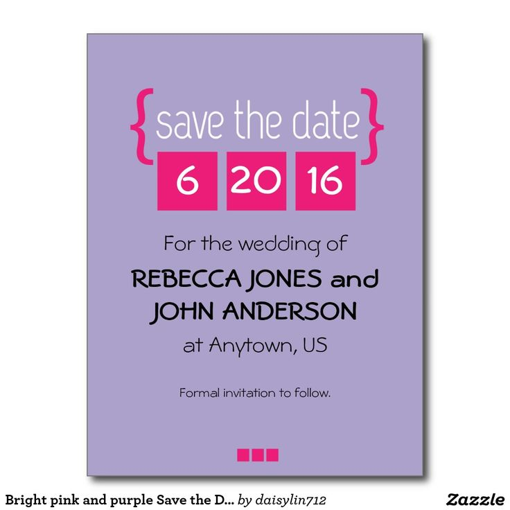 Bright pink and purple Save the Date postcard