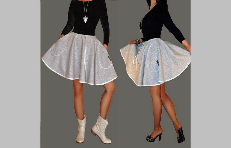 Urocze spódniczki dresowe z pełnego koła. Limonka, szara, czarna, czerwona, kremowa,kolor jeansowy