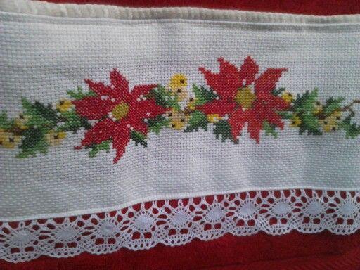 Toalla bordada para navidad en punto de cruz toalla - Manteles para navidad ...