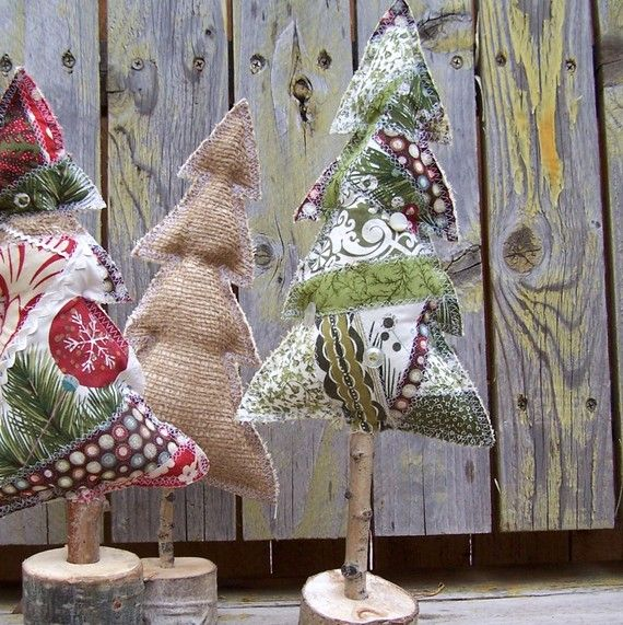 Christmas Home Decor, Rustic Green Patchwork Christmas Tree on Wood Stand