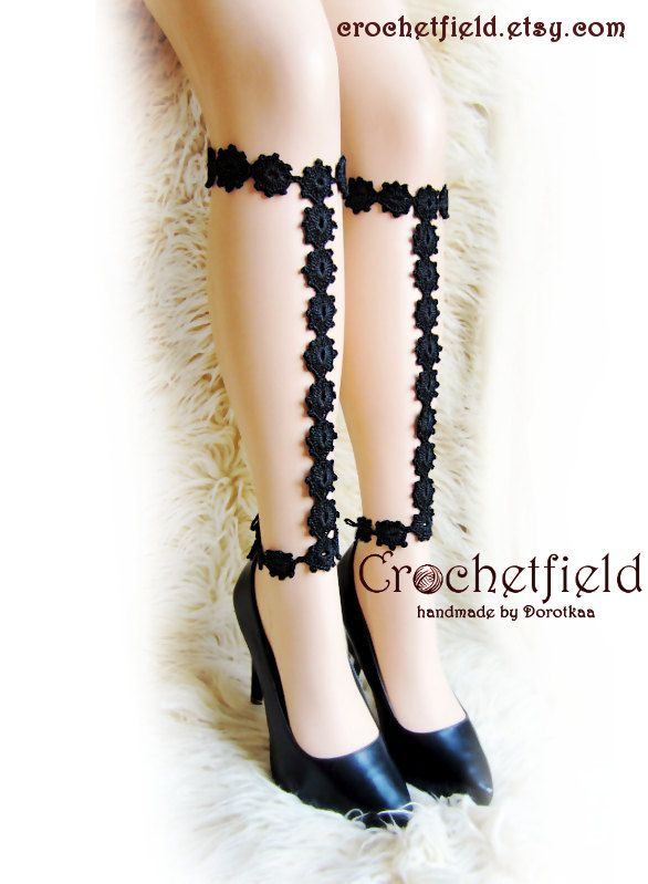 Crochet Anklet, barefoot sandals, knee high, gladiator boots, long, lace, beach, pool, wedding, Nude shoes, legjewelry, leg chain, leglet - pinned by pin4etsy.com