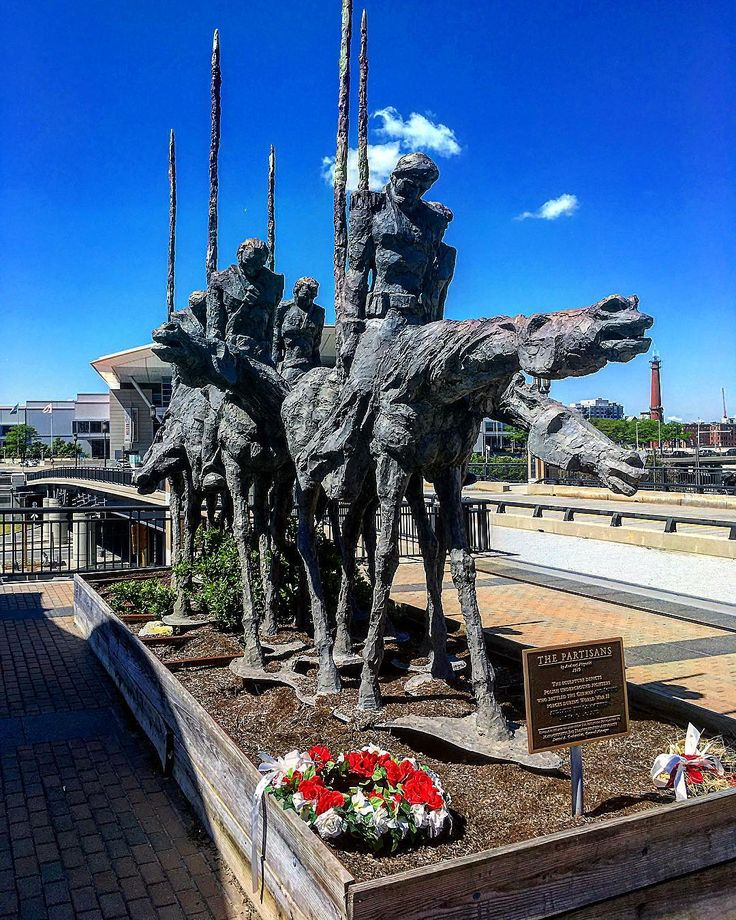 "Sculpture: ""The Partisans"" on top of the public transportation center between the convention center and Boston World Trade Center."