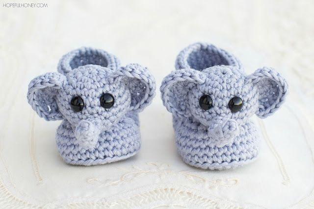 Ellie The Elephant Baby Booties - Free Crochet Pattern, #haken, gratis patroon (Engels), baby, olifant sloffen, kraamcadeau, #haakpatroon