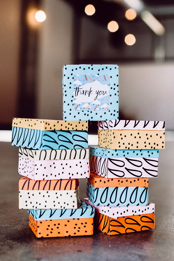 Create your own favor boxes today! Whether you have a wedding or birthday party, they're the perfect personalized touch to send your guests off with. We love this creative DIY from @ruffled and know you will, too. Templates for the card stock included.