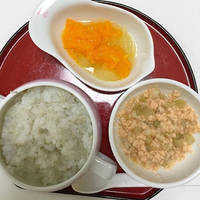 ☆しらす粥 ☆鮭と茄子のうま煮 ☆りんごとオレンジ - 2件のもぐもぐ - 離乳食5/3-1 by ennas1122
