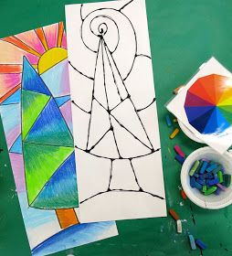 Cassie Stephens: In the Art Room: Faux Stained Glass Winter Scene