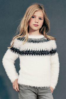 エクリュ フェアアイルパターン ふわふわ セーター (3~16 歳)