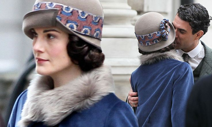 Lady Mary Crawley and Lord Gillingham share a kiss on set of Downton