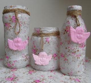 Decopatched jars by liszha.blogspot.com