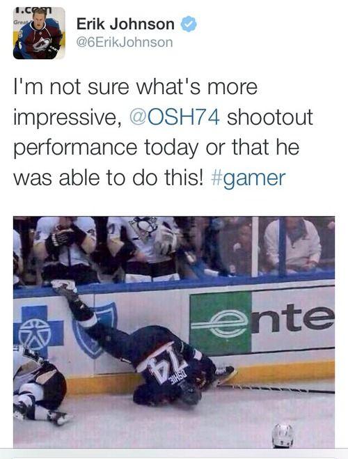 TJ Oshie, the Shootout King! St. Louis Blues. Eric Johnson, Colorado Avalanche. USA Hockey. NHL. America. Washington Capitals. LOL. Twitter. 2014 Olympics. Sochi, Russia.