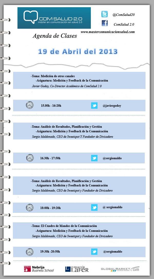 Agenda del día 19 de abril del 2013 - Máster en Comunicación en Salud 2.0 (COMSALUD 2.0)