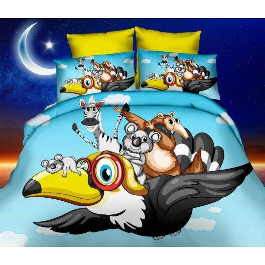 3D modré posteľné návliečky s rozprávkovými zvieratkami