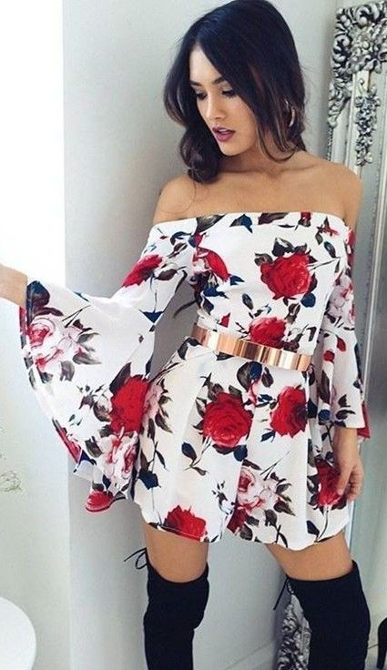 Floral Bare Shoulder Playsuit                                                                             Source