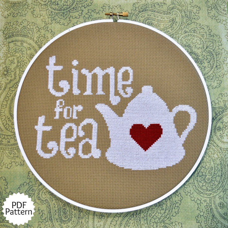 Time for Tea Cross Stitch Pattern Download, sent by email. $4.00, via Etsy.