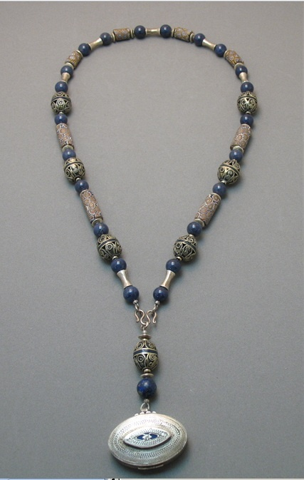 by Susan Stem |  Turkman box pendent of fine silver, Antique Venetian Millefiori beads from the African trade, Filigree with inlaid Lapis Lazuli from Afghanistan and Karen Hill tribe silver