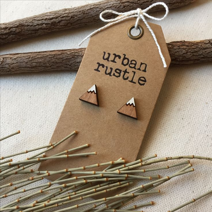 Snow-capped Mountain wooden stud earrings
