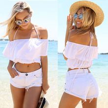2016 Sexy club Women's Strap Tanks Crop Tops Sleeveless Short Y Camisole Halter Top,Summer Style White Camis Vest Brazil trend(China (Mainland))