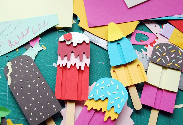 Ice Lollies Cut Paper Art by Polly Lindsay